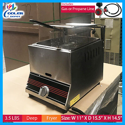Deep Fryer 3.5 Gal Single Basket Commercial Gas Counter Top Countertop Home