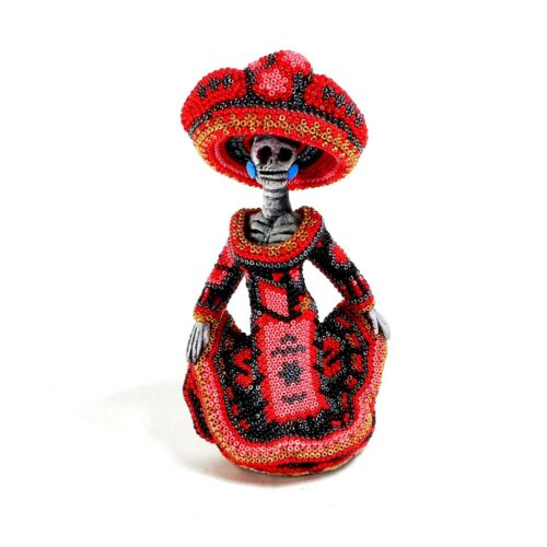 Flamenco Dancer CATRINA Huichol Beaded Art Mexican Day of the Dead Figurine