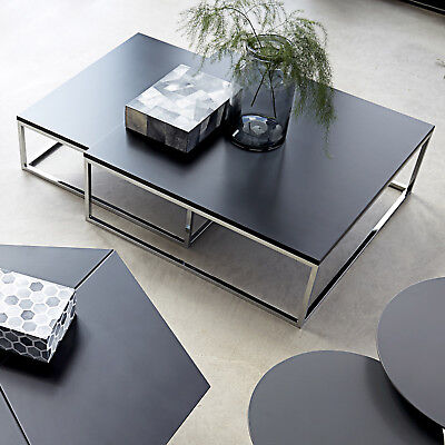 Couchtisch Molly 30 Tisch schwarz Metallgestell Satztisch Beistelltisch 2er Set ()