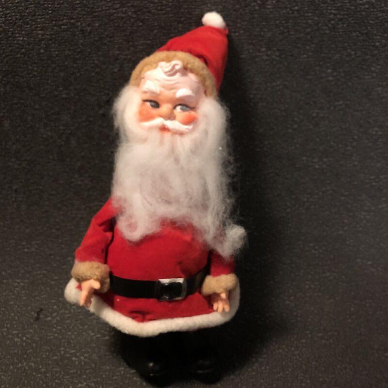 """Vintage Rubber Face Santa 7.5"""" Figurine Ornament Japan Velvet Plastic Boots"""