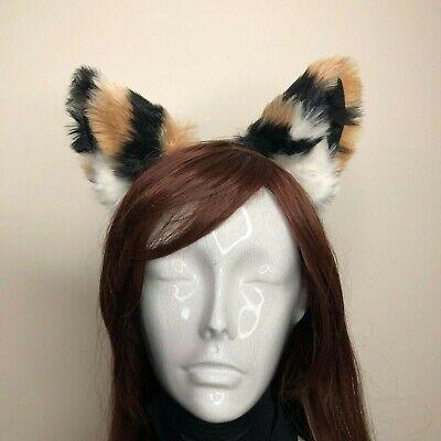 Cat Ears Kitty Headwear Tiger Pattern Black Brown Furry Animal Headband Costume