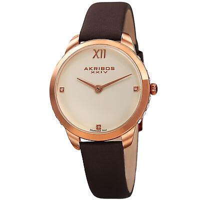 Women's Akribos XXIV AK1059BR Swarovski Crystal Diamond Brown Leather Watch