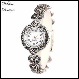 Vintage Antique Silver Marcasite Style Heart Shape Chainlink Bracelet WristWatch