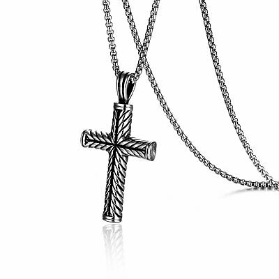 Men's Vintage Black Silver Tone Stainless Steel Religious Cross Pendant Necklace Fashion Jewelry