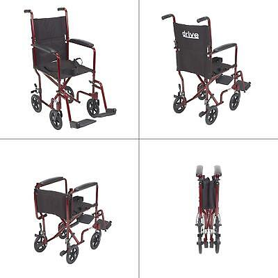 lightweight transport wheelchair in red with 17 in. seat | drive medical deluxe Deluxe Aluminum Transport Wheelchair