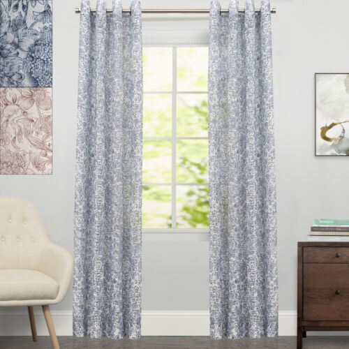 Toile Lace Grommet Floral Window Curtain Single Panel 84″x54″ Curtains & Drapes