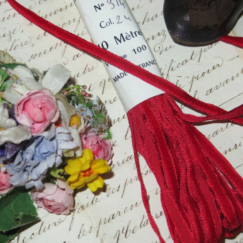 """1y TINY 1/4"""" RED FRENCH VELVET TRIM RIBBON Mignonette Doll Dress Antique Vtg"""