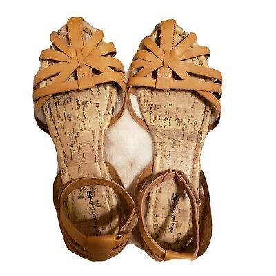 American Eagle Brown Leather Sandals Size 5. Velcro ankle strap.  Velcro Strap Sandals
