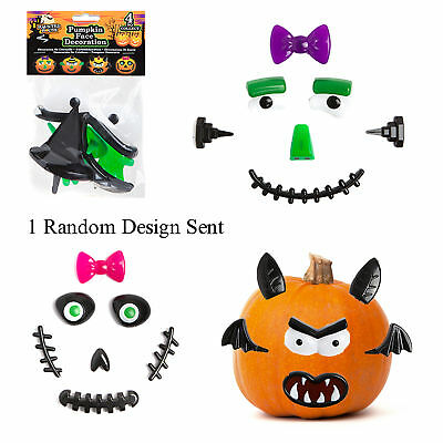 Halloween Pumpkin Face Designs (Halloween Plastic Pumpkin Face Decorations - Random Design)