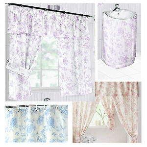 Lily Floral Bathroom Window Curtains Plemet Or Sink Surrounds Lilac Blue Pink Ebay