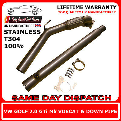 VW Golf Mk5 MK6 GTI FSI Stainless Steel T304 Decat and Downpipe 3
