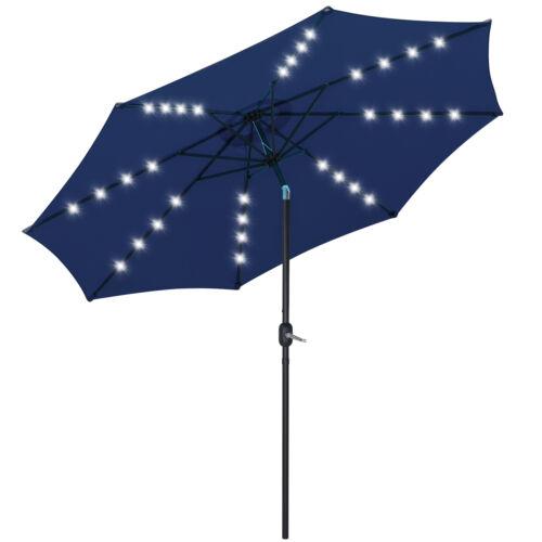 10FT Patio Solar Umbrella 32LED Patio Market Steel Tilt W/ Crank Outdoor Navy Garden Structures & Shade