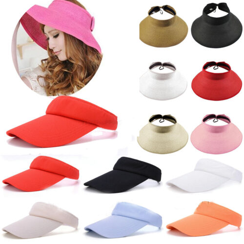Women Foldable Summer Straw Sun Hat Summer Beach Holiday Empty Top Ponytail Cap Clothing, Shoes & Accessories