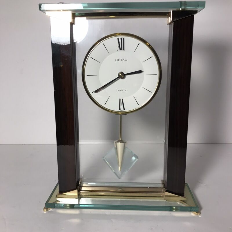 Seiko Glass Mantle Clock with Crystal Pendulum-Mid Century Modern Design- Quartz