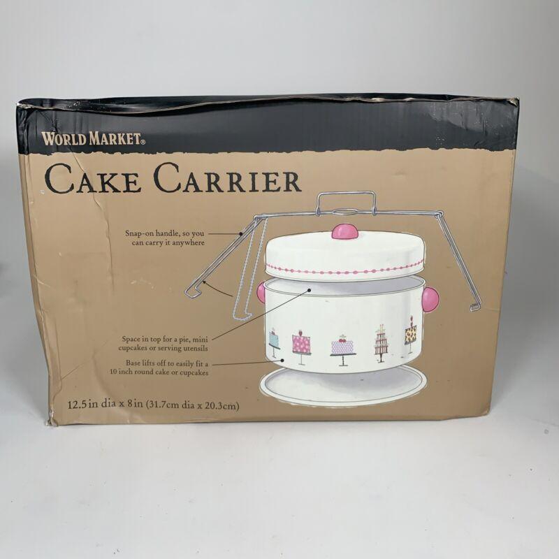 World Market 3-piece Metal Cake and Pie Carrier Keeper Retro Cream Birthday