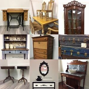 Antiques, custom, wood furniture, pipe furniture available