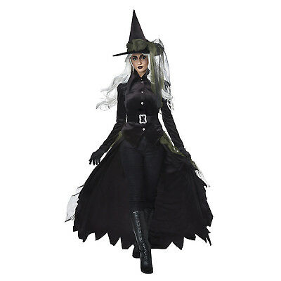Women's Gothic Wicked Black Witch Oz Halloween Costume Hat Jacket Skirt XS-XL