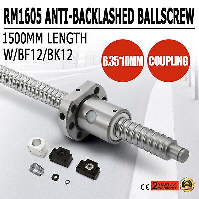 RM1605-1500mm Husillo de Bola +BF12/BK12 CNC Tornillo de Bola Antirretroceso