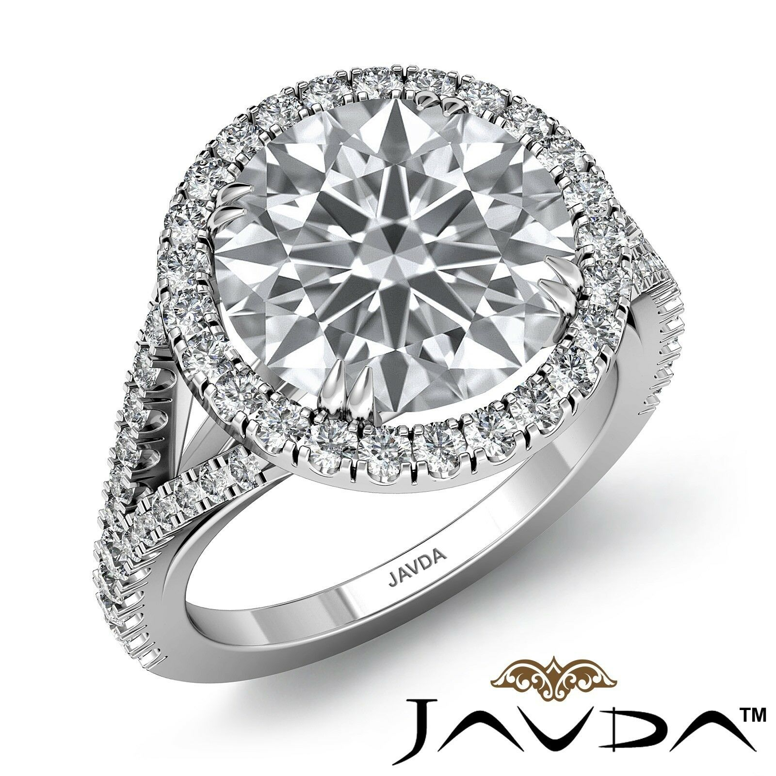 3.75ctw Halo Pave Set Round Diamond Engagement Ring GIA J-SI1 Platinum Women New