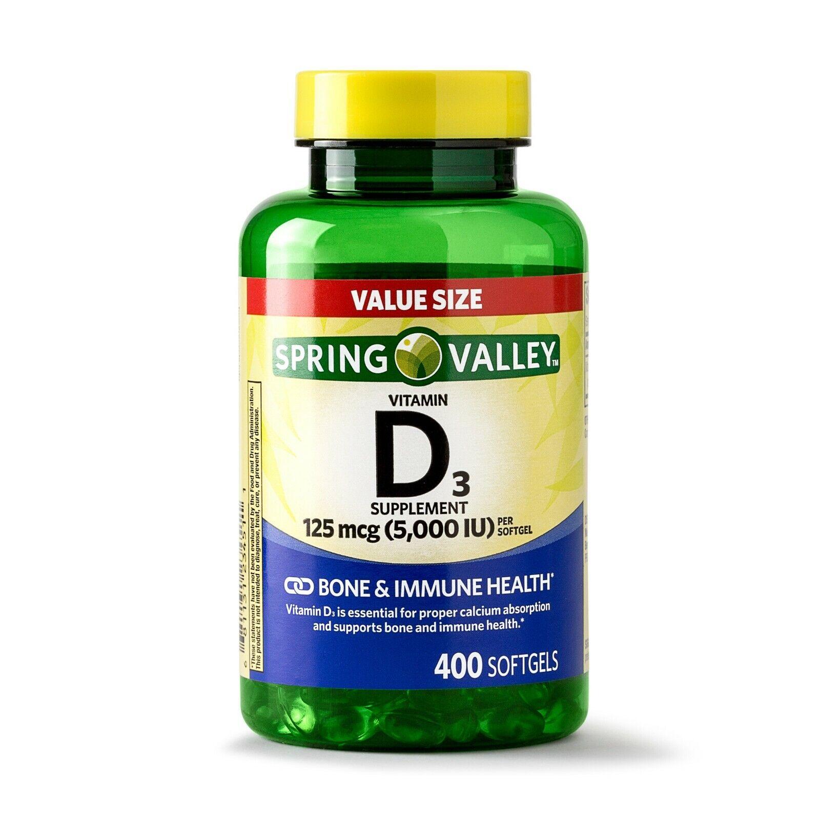 Vitamina D 3 Softgels, 5000IU, 400ct Ayuda el Sistema Inmunologico Spring Valley