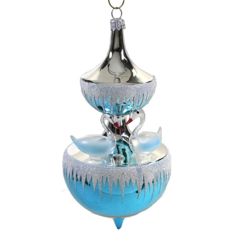 De Carlini Swan Fountain Glass Ornament Christmas Carousel V3071 Blue