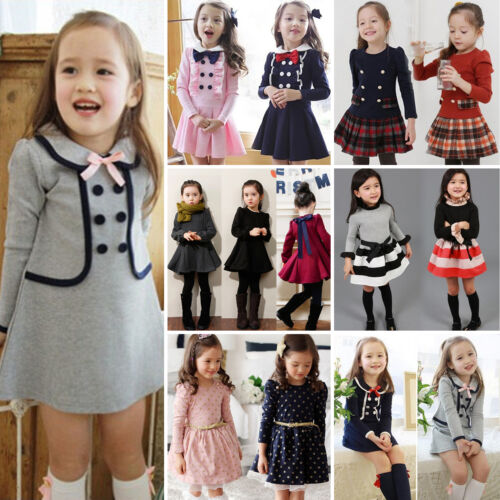 Toddler Kids Girl Winter Skater Dress Long Sleeve Party Mini