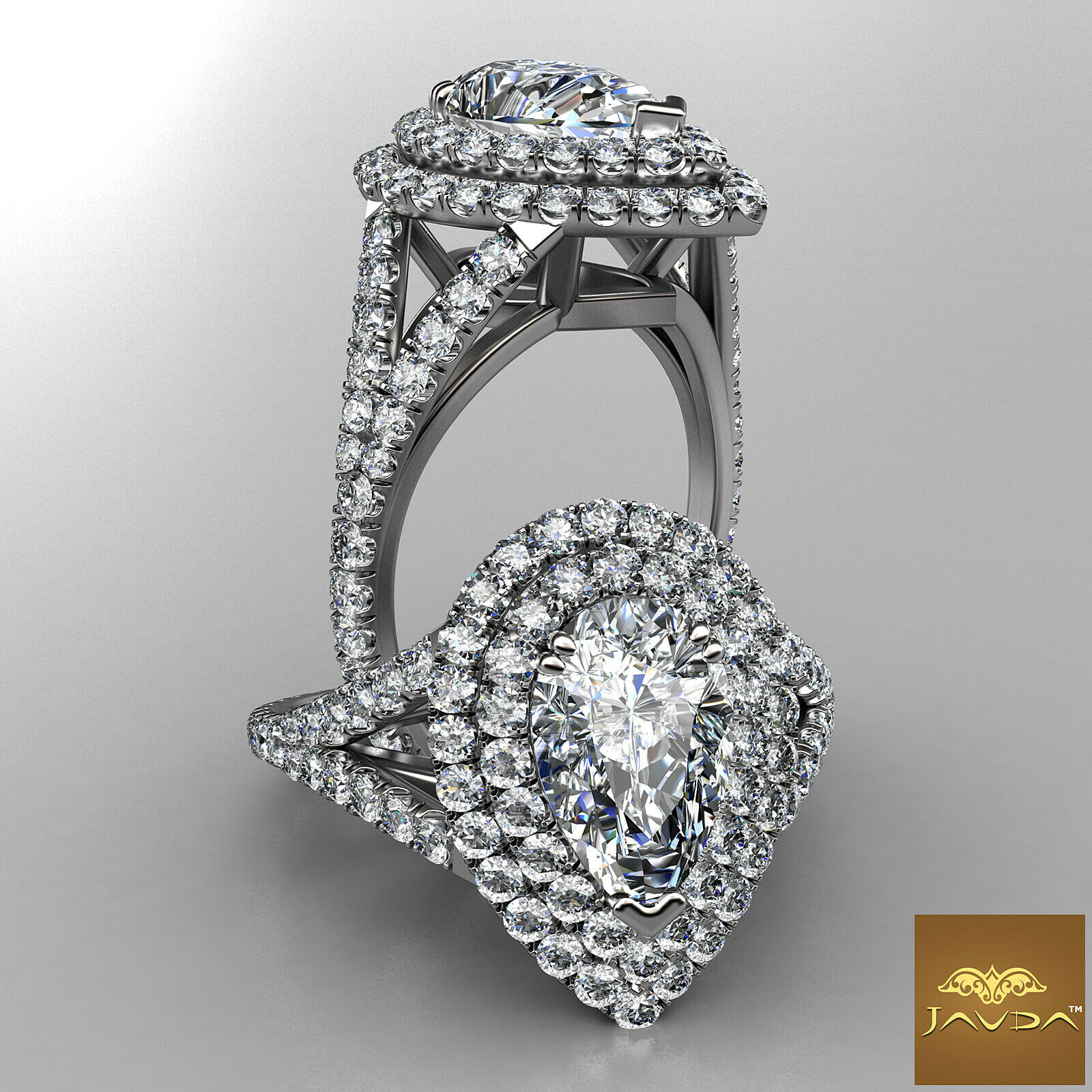 2.23ctw Double Halo Cut Prong Pear Diamond  Engagement Ring GIA J-VVS2 w Gold