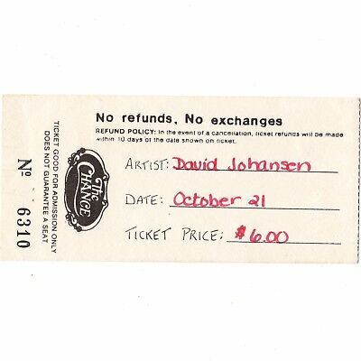 DAVID JOHANSEN Concert Ticket Stub POUGHKEEPSIE 10/21/83 CHANCE NEW YORK DOLLS