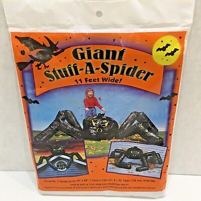 Giant STUFF-A-SPIDER Halloween Decoration 11 Feet Wide, Plastic, Not a Toy