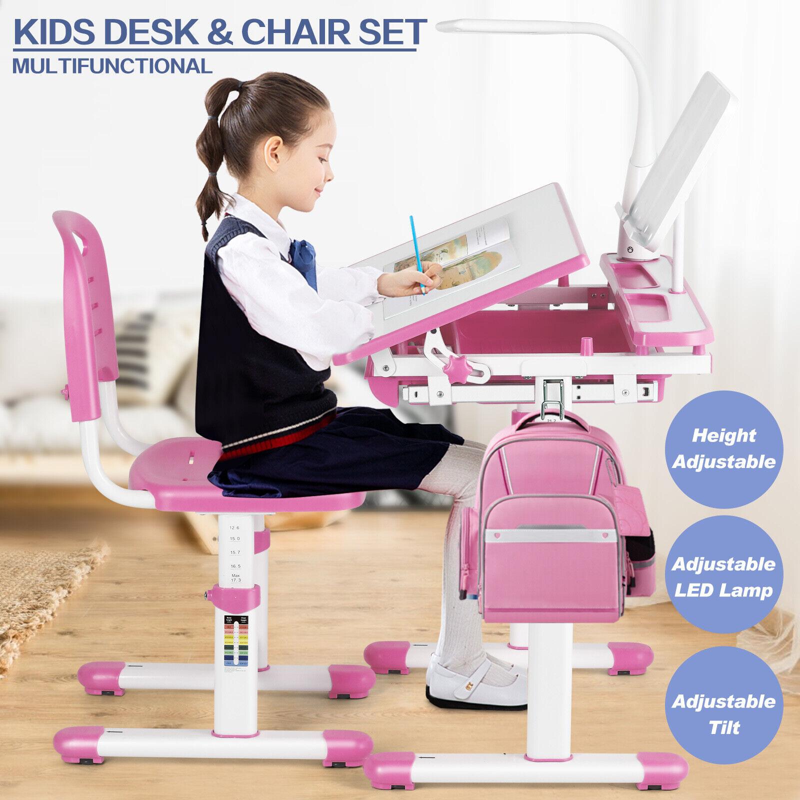 Height Adjustable Kids Study Desk Chair Set Children Table L