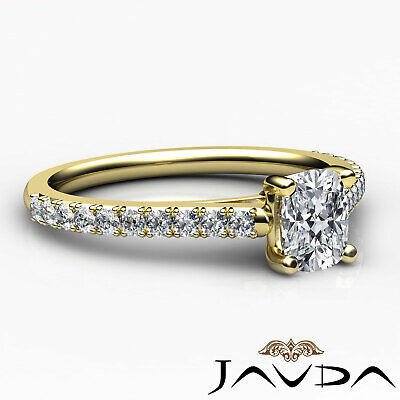 French V Pave Women's Cushion Diamond Engagement Cathedral Ring GIA G VS1 0.75Ct 9