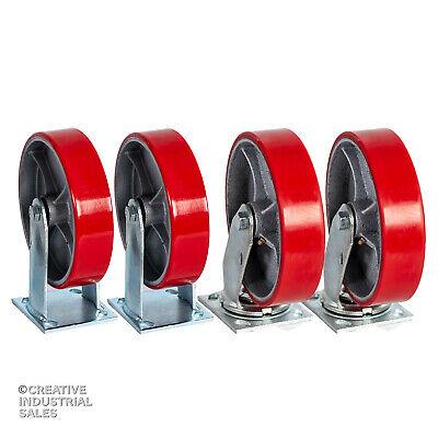 8 X 2 Swivel Casters Polyurethane Wheel Steel Hub 2 Rigid 2 1250lb Each