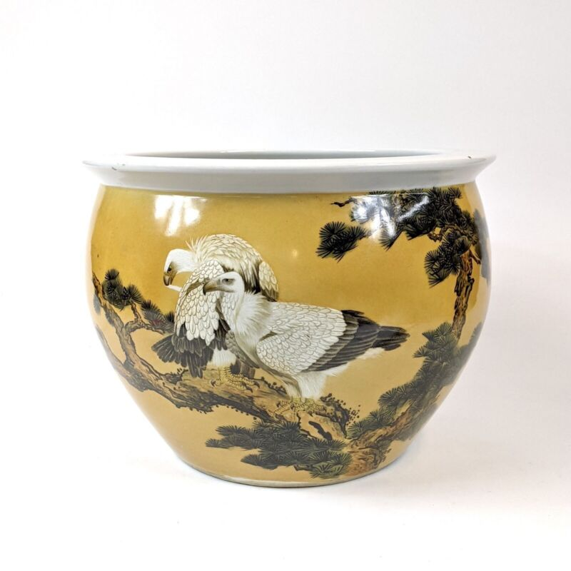 20th C Hand Painted Porcelain Planter Of Eagles on A Pine Tree