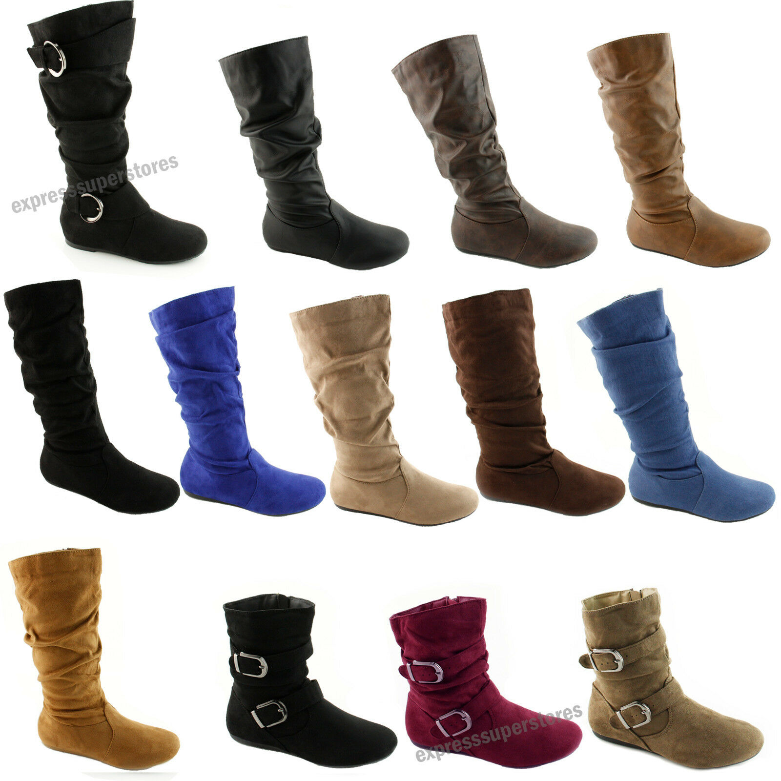 Boots - Women's Boots Slouch Below The Knee High New Faux Suede Flat Heels Booties Size