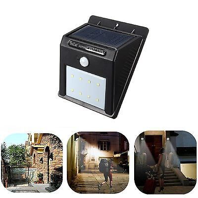 8 LED Solar Power PIR Motion Sensor Wall Light Outdoor Waterproof Garden Lamp