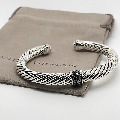 David Yurman Sterling Silver Black Diamond Station Cable Cuff Bracelet 7mm Sz M Black Diamond Silver Bracelets