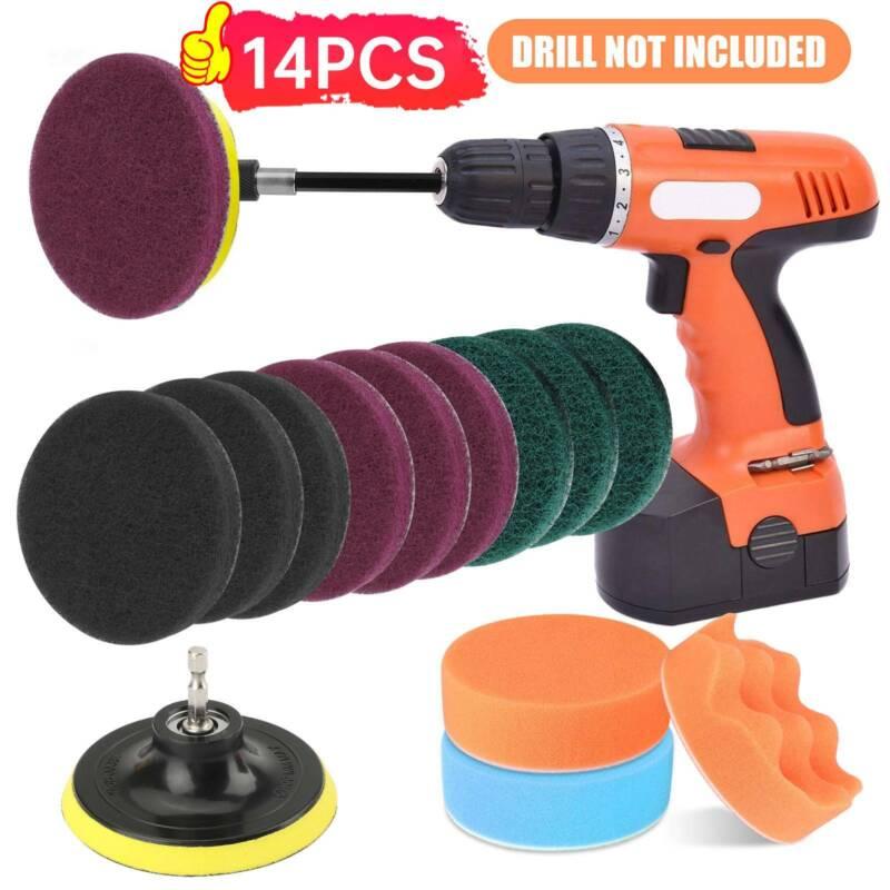 14pcs 4Inch Car Buffing Pads Polishing for Drill Sponge Kit Waxing Foam Polisher