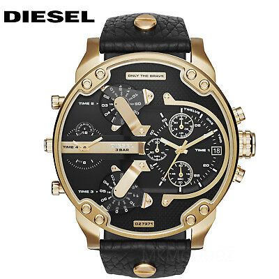 New Diesel Dz7371 Mr  Daddy 2 0 Gold Tone Black Dial Stainless Steel Mens Watch