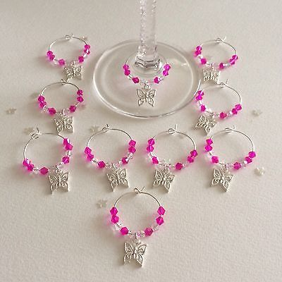 20 Hot Pink wedding wine glass charms. Favours. Gift. Party. ()