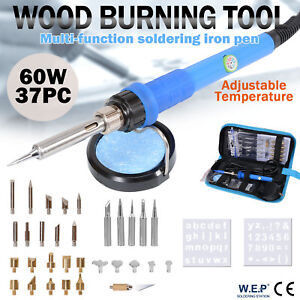 WEP 37 X 60W Wood Burning Pen Soldering Iron Kit Pyrography Craft Tool Tips