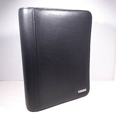 Franklin Covey Planner Classic Black Leather Binder Full Zip 8x10 7 Rings Flaw