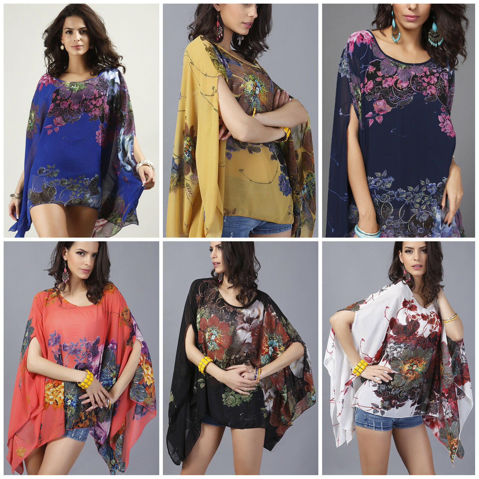 Women's Swimsuit Cover Up Dress Floral Chiffon Kimono Batwing Summer Beachwear Clothing, Shoes & Accessories