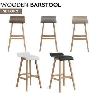 Set of 2 Wooden Kitchen Bar Stools Chair Dining w/ PU Padded Seat