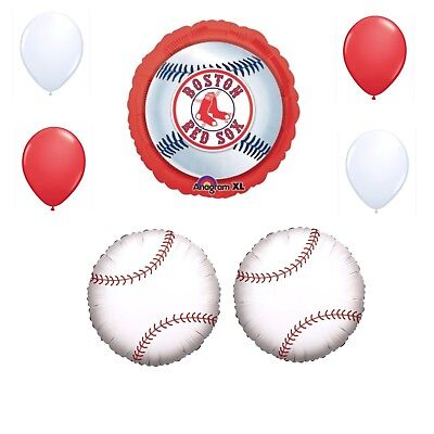 Boston Red Sox 7 Piece Balloon Bouquet Birthday Party Decorations Baseball