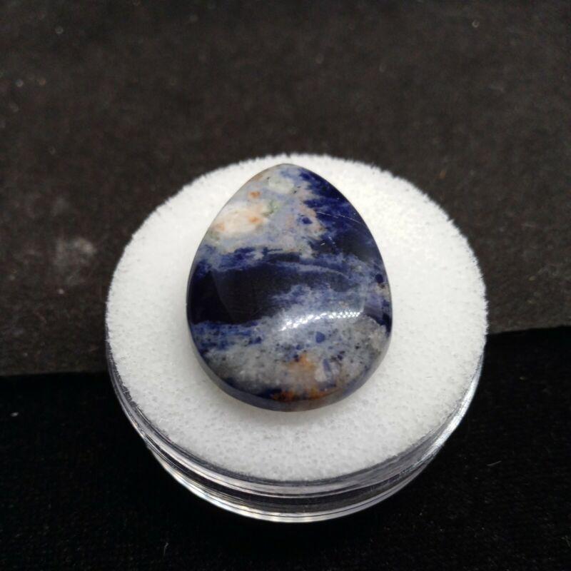 30ct Natural Sodalite Fancy Pear Cabochon Cut 31.9x21.9x5.8mm #p08