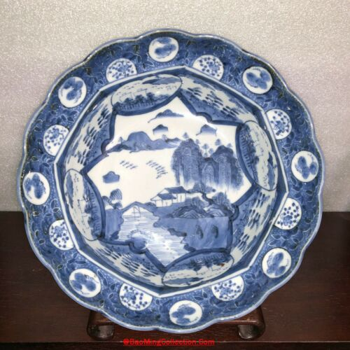 29cm Japanese Edo Arita Shonzui Kraak Sometsuke Blue White Porcelain Basin Bowl