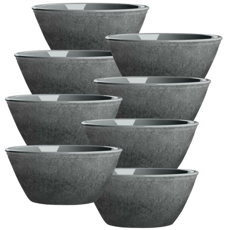 Potters Reactive Glaze GREY Melamine Low Bowl x 8