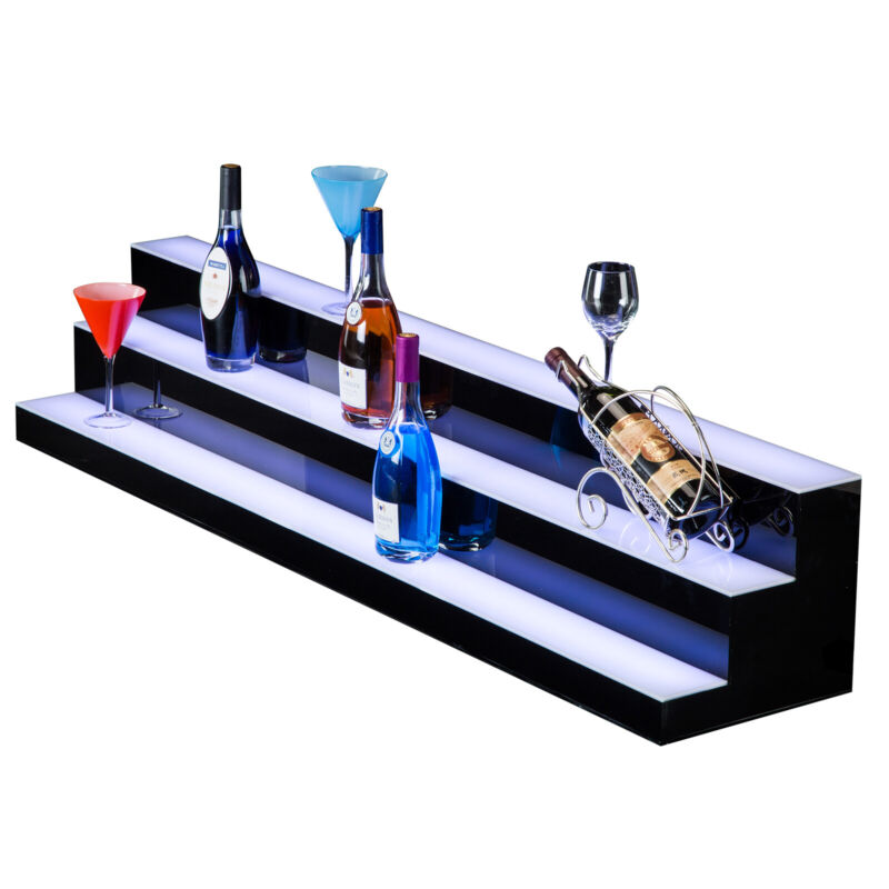 "SUNCOO LED Lighted Back Bar 60"" 3 Step Tier Glowing Liquor Bottle Display"