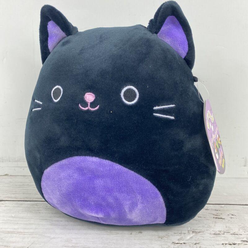 "Squishmallow Autumn The Black Cat 8"" Purple Halloween Rare Soft Plush Kelly Toy"