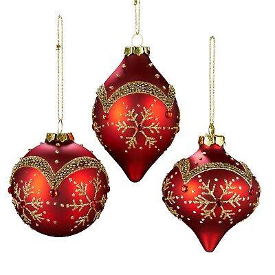 Kurt Adler Glass Snowflake Pattern Ornament, 80mm, Set of 3, -
